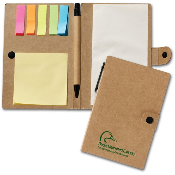 Natural Notebook with Flags and Sticky Notes