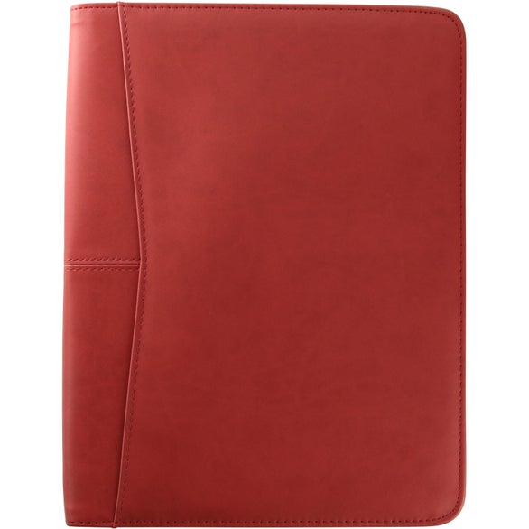 Red Pedova Zippered Padfolio