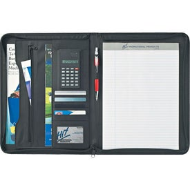 "Euro 8 1/2"" X 11"" Zippered Portfolio With Calculator for Your Church"