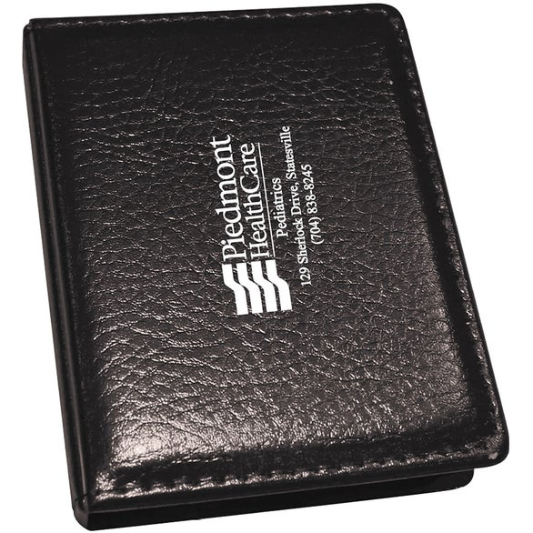 Black PVC Black Cover Memo Pad with 2 Pastel Colored Sticky Note