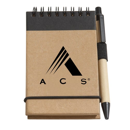 Tan / Black Recycled Jotter Pad with Pen