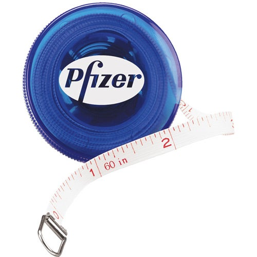 Translucent Blue Plastic Round Tape Measure
