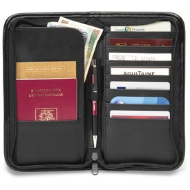 Promotional Safe Travels Leather Document Holder