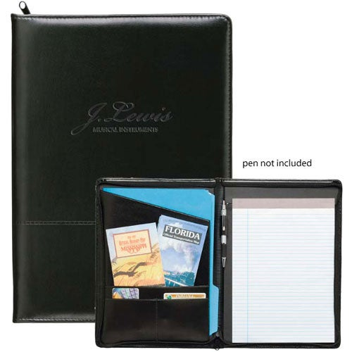 Black Script Zippered Padfolio