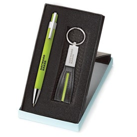 Tempest Ballpoint and Leather Key Ring Set with Your Logo