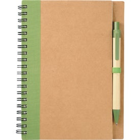 Eco Spiral Notebook and Pen with Your Slogan