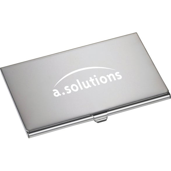 Silver Traverse Business Card Holder