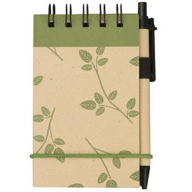Promotional V Natural Kraft Geo Jotter with Pen