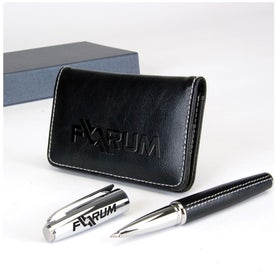 Advertising Victory Gift Set Business Card Case and Rollerball Pen