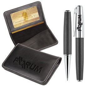 Victory Gift Set Business Card Case and Rollerball Pen