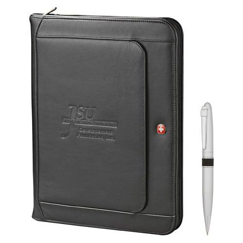 Wenger Exec Leather Zippered Padfolio Bundle Set