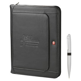 Wenger Exec Leather Zippered Padfolio Bundle Set