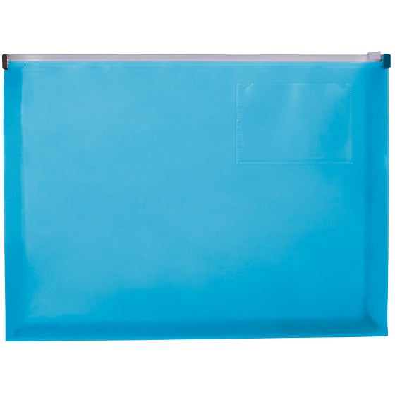 Translucent Blue Zip Closure Envelope with Business Card Slot