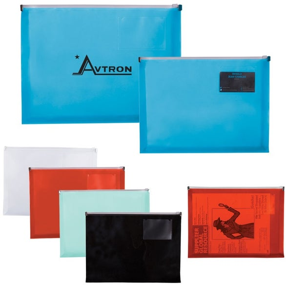 advertising zip closure envelopes with business card slot