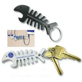 Fish Bone Bottle Opener and Cord Winder Keychain