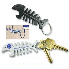 Fish Bone Bottle Opener and Cord Winder Keychain