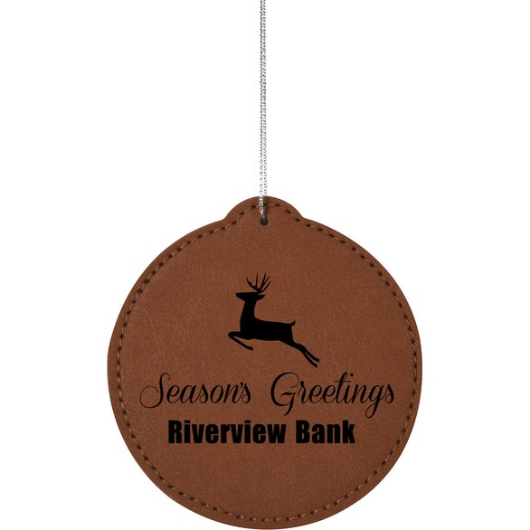 Brown Circle Leatherette Ornament