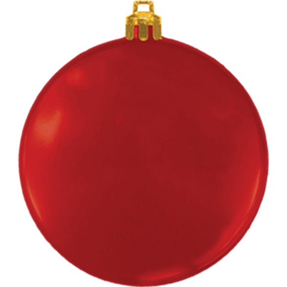 Red Flat Shatterproof Round Ornament