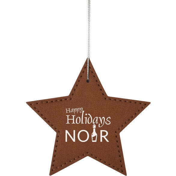 Brown Star Leatherette Ornament