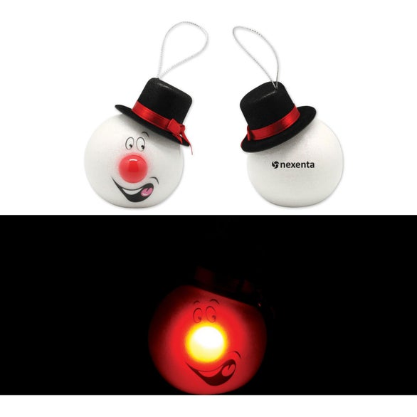 White LED Snowman Ornament with Top Hat
