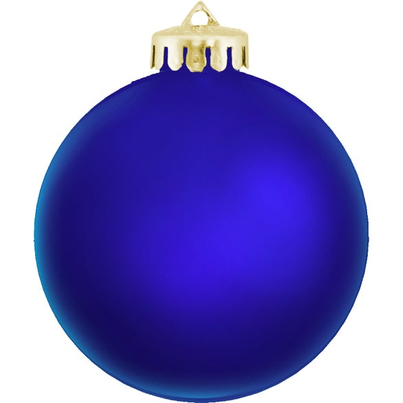 Blue Satin Finished Round Shatterproof Ornament