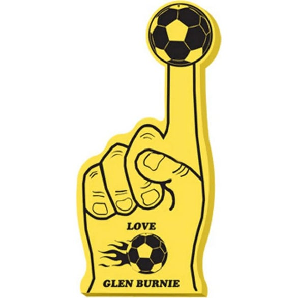 Gold #1 Foam Hand with Soccer Ball