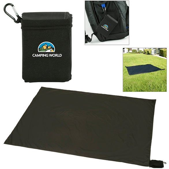 Black Waterproof Picnic Blanket-in-a-Pouch