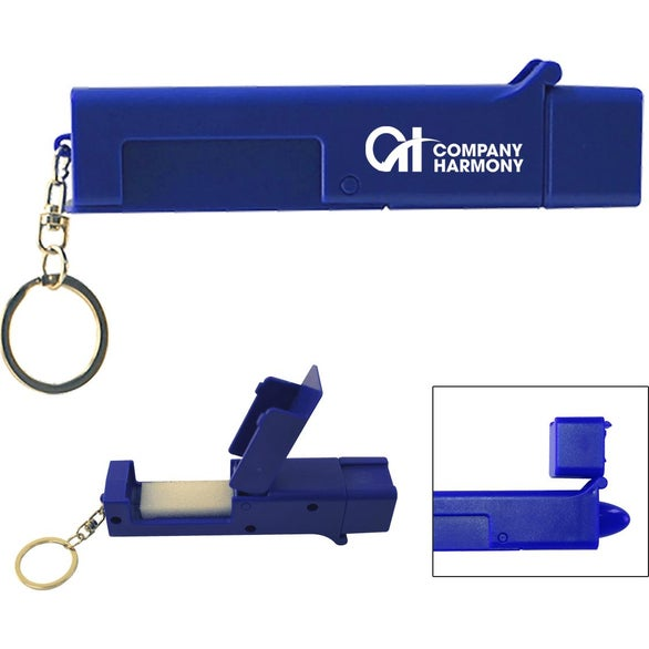 Blue Sanitary Door Opener Touch Tool Keychain