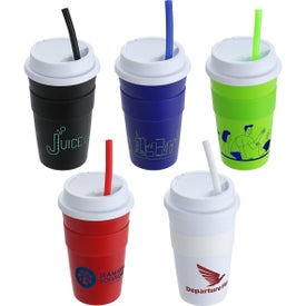 Coffee Cups with Silicone Sleeve and Straw (14 Oz.)