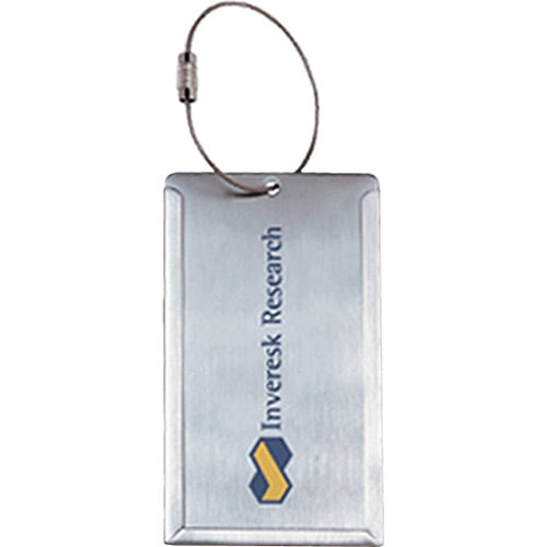 Brushed Silver Stainless Steel Luggage Tag