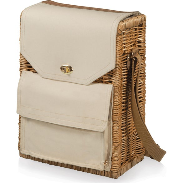 Brown / Beige Corsica Wine and Cheese Picnic Basket