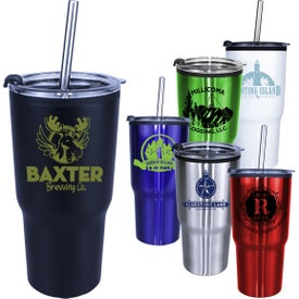 Ares Tumblers with Stainless Steel Straw and Flip Lid (20 Oz., Screen Print)