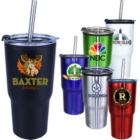 Ares Tumblers with Stainless Steel Straw and Flip Lid (20 Oz., Full Color Logo)