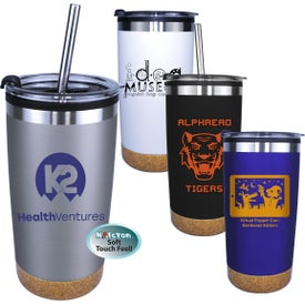 Halcyon Cork Bottom Tumblers with Straw and Flip Lid (20 Oz., Screen Print)