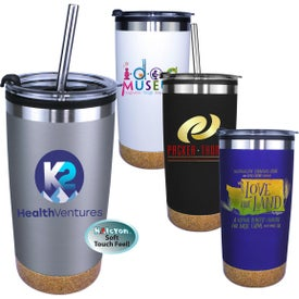 Halcyon Cork Bottom Tumblers with Straw and Flip Lid (20 Oz., Full Color Logo)