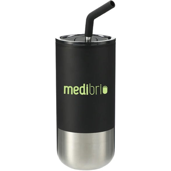 Black Lagom Tumbler with Stainless Steel Straw