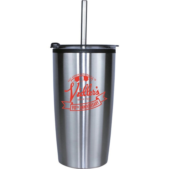 Silver / Black Niagara Tumbler with Stainless Straw and Flip Lid