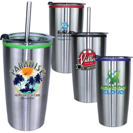 Niagara Tumblers with Stainless Straw and Flip Lid (20 Oz., Full Color Logo)