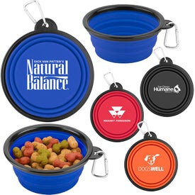 Collapsible Silicone Pet Bowls with Carabiner (12 Oz.)