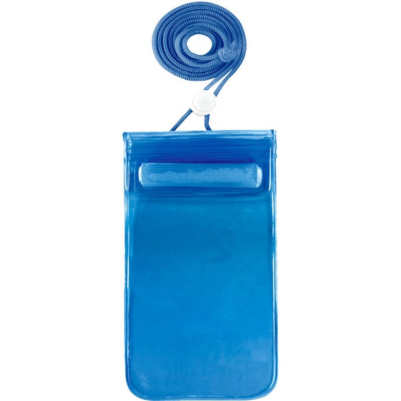 Translucent Blue Waterproof Pouch with Neck Cord