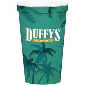 Stadium Cups (22 Oz., Full Color Logo, Wrap, White)