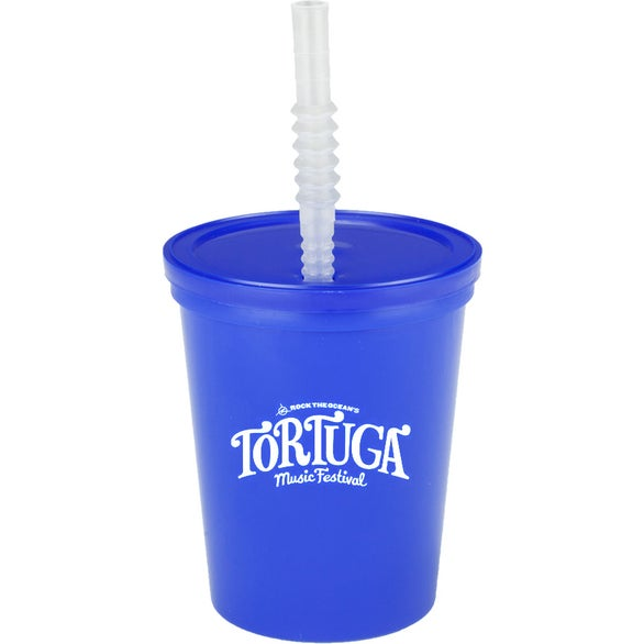 Reflex Blue Plastic Stadium Cup with Lid and Straw