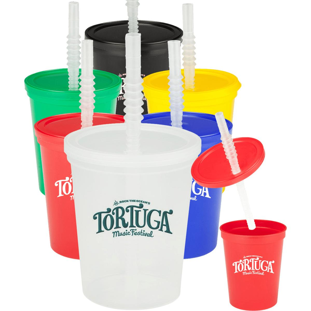 Plastic Stadium Cup with Lid and Straw (16 Oz.)
