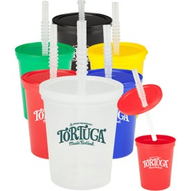 Plastic Stadium Cup with Lid and Straws (16 Oz.)