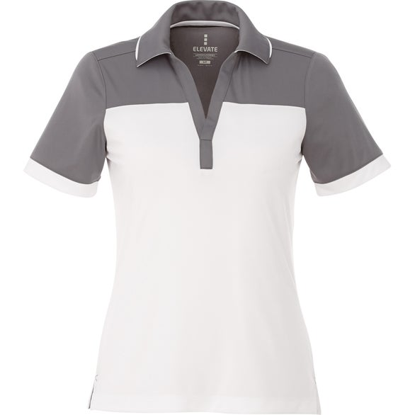 White / Steel Gray Mack Short Sleeve Polo Shirt by TRIMARK