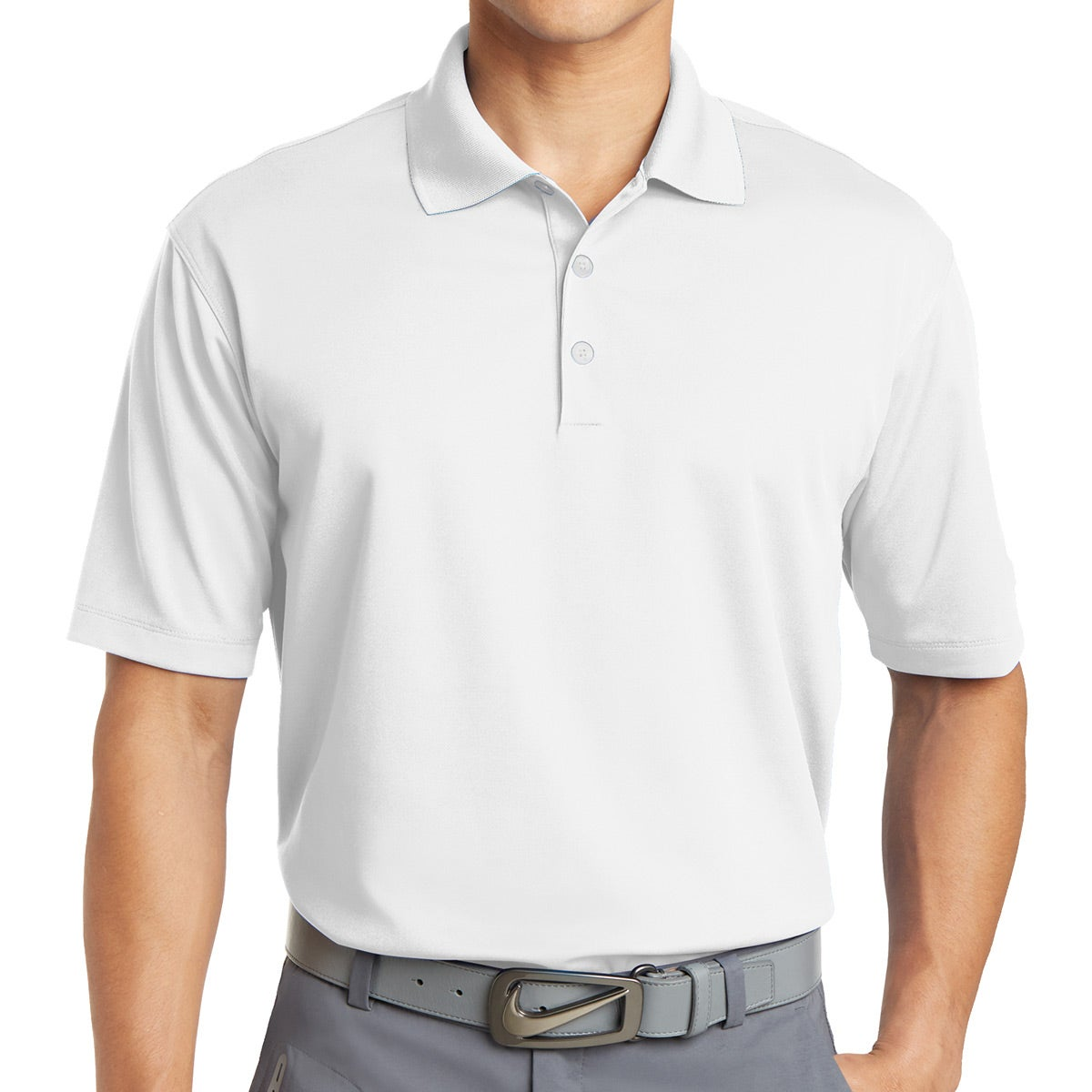 Promotional White Nike Golf Dri Fit Micro Pique Polo Shirts With
