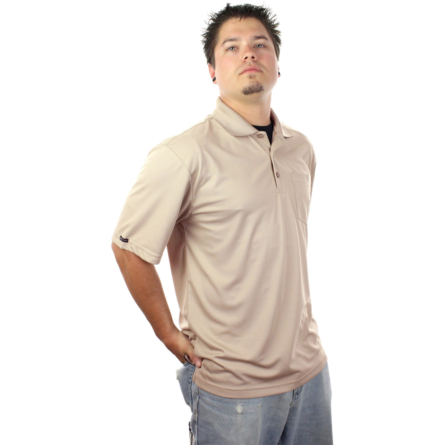 Pico short sleeve polo with pocket by trimark men 39 s for Short sleeve polo shirt with pocket