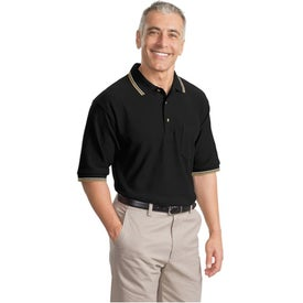 Branded Cool Mesh Sport Shirt with Tipping Stripe Trim