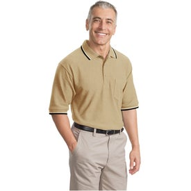 Cool Mesh Sport Shirt with Tipping Stripe Trim with Your Slogan