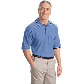 Cool Mesh Sport Shirt with Tipping Stripe Trim Imprinted with Your Logo